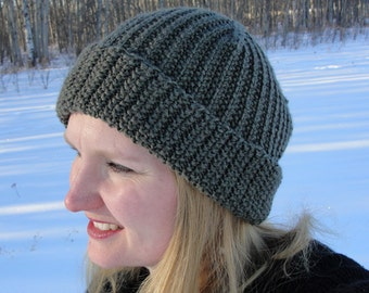 """Knit HAT PATTERN - """"Brock Beanie"""", Toque, Slouch, Women's hat, Men's hat, Children's hat, PDF pattern"""