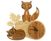 Fox Log Bamboo Wall Clock