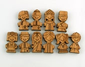 Wooden Bamboo Magnets: Children of the World (Set 1)