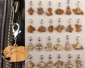 Zipper Pulls: Owl Fox Bird Acorn Mushroom Bunny Squirrel Raccoon Hedgehog (Choice of 2)