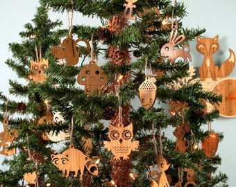 Wooden Christmas Animal Ornaments: Owl Fox Bunny Squirrel Acorn Hedgehog Raccoon Mushroom (Choice of TWO)