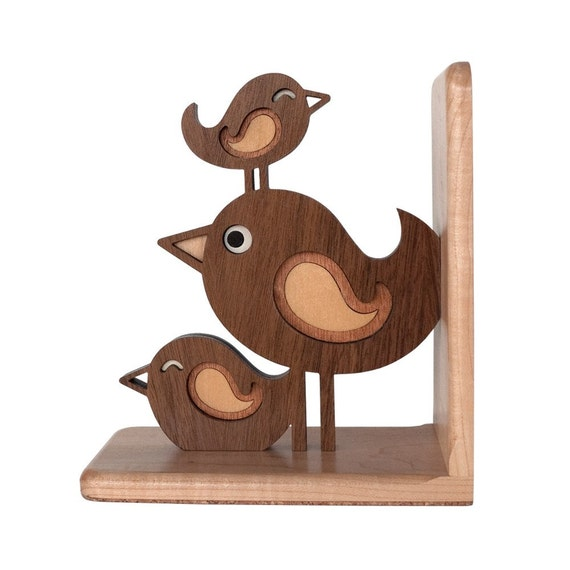 Bird Stack Wooden Animal Bookend Heirloom: Baby Nursery Kids