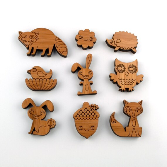 Wooden Animal Magnets: Owl Fox Acorn Raccoon Hedgehog Bird Bunny (Set 1)