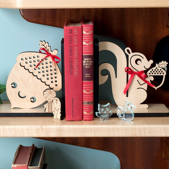 Children's Wood Bookends: Squirrel Acorn Owl Fox Bunny Bird Hedgehog Raccoon Snail, Mix / Match (2)