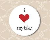 I heart my bike. Pinback button