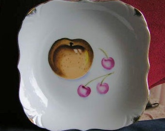FREE SHIPPING - Hand Painted Square Dish with Fruit