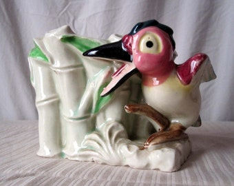 1950s Ceramic Toucan and Bamboo Planter