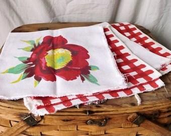 Beautiful Repurposed Wilendur Napkins with Roses - Set of 4
