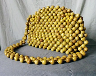 Vintage Yellow Wooden Beaded Purse