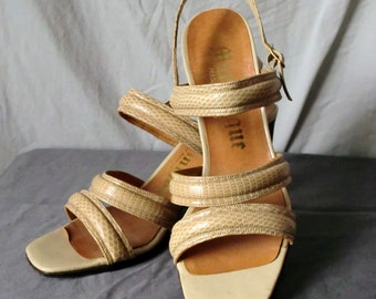 Faux Snakeskin Tan Strappy Heels by Martiniques