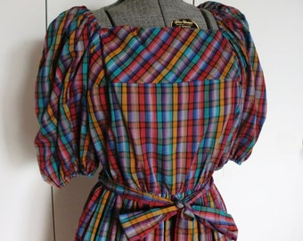 1980s Jewel Tone Madras Plaid Peasant Dress