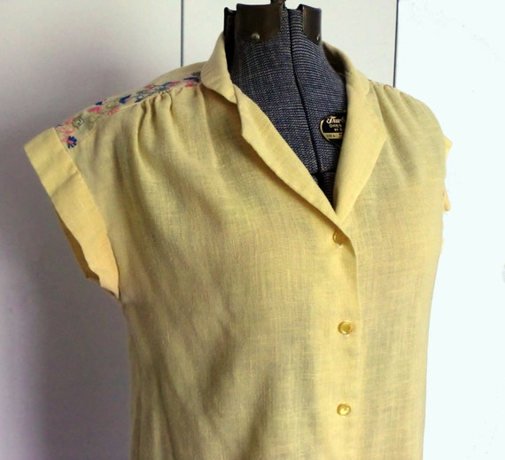 1970s Boho Yellow Cotton Blouse with Embroidery