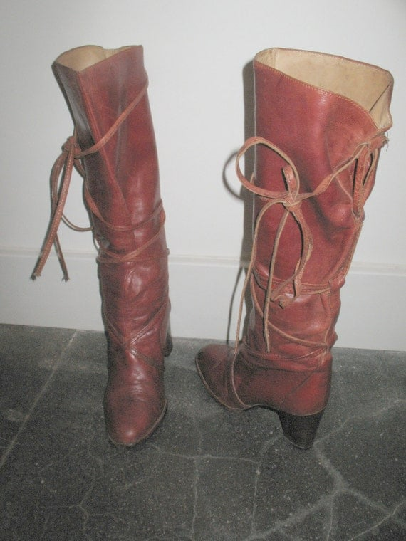 SALE amazing vintage tall boots natural mahogany leather slouchy strappy 9 - 9.5 39