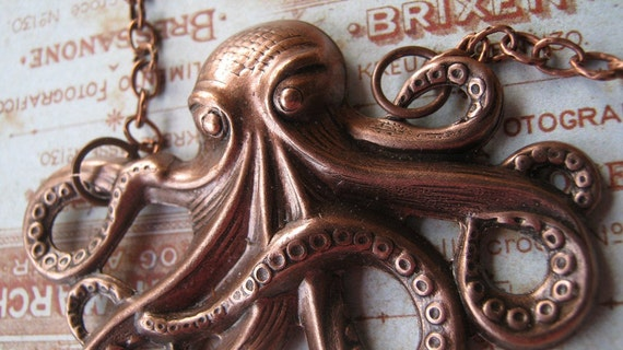 Octopus Necklace, Antiqued Copper, Steampunk, Nautical, Neo Classical, Octopus Jewelry, Sea Creature, 20,000 Leagues Under the Sea