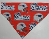 NFL Football New ENGLAND PATRIOTICS Dog/Cat/Ferret-Reversible 2 in 1 Over the Collar Bandana//Custom made just for you and your pet