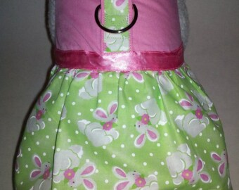 Easter Bunny Harness Dress. Perfect Item for your Cat, Dog or Ferret. All Items Are Custom Made For Your Pet.