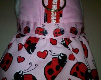 Pink Lady Bug Harness Dress. Perfect Item for your Cat, Dog or Ferret. All Items Are Custom Made For Your Pet.