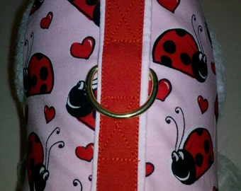 Pink Lady Bug  Harness. Perfect Item for your Cat, Dog or Ferret. all Items are custom made For Your PET.