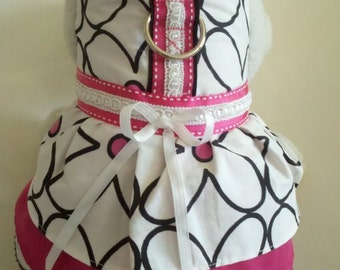 Classic Retro Black White & Pink Daisy Dress. Perfect Item for your Cat, Dog or Ferret. All Items Are Custom Made For Your Pet.