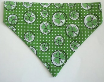 Dog/Cat/Ferret-Reversible 2 in 1 Over the Collar Lucky Shamrock St Patricks Bandana. Custom made just for YOU and your pet