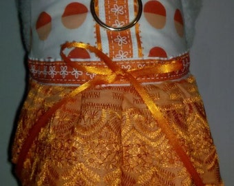 Fancy Embroidery Eyelet Orange Harness Dress. Perfect Item for your Cat, Dog or Ferret. All Items Are Custom Made For Your Pet.