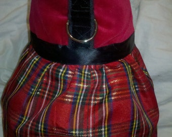Christmas Holiday Tartan Harness Dress. Perfect Item for your Cat, Dog or Ferret. All Items Are Custom Made For Your Pet.