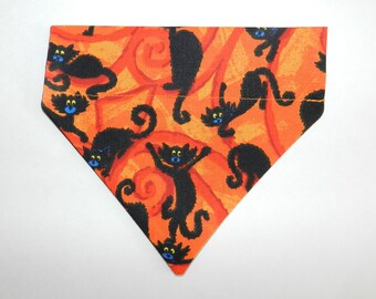 Spooky & Scary BLACK CAT HALLOWEEN Design Dog, Cat, Ferret-Reversible 2 in 1 Over the Collar Bandana. Custom made just for your pet