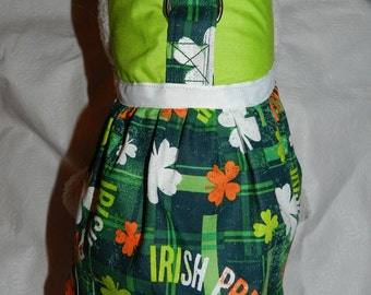 St Patricks IRISH PRIDE Green Orange Plaid Harness Dress. Perfect Item for your Cat, Dog or Ferret. All Items Are Custom Made For Your Pet.