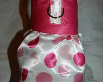 Satin FUSCHIA & PINK Wedding Bridal Party Harness Dress. Perfect Item for your Cat, Dog or Ferret. All Items Are Custom Made For Your Pet.