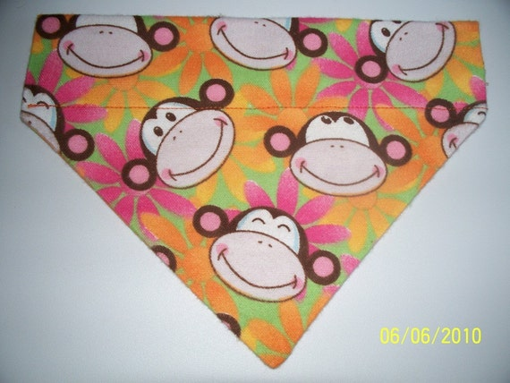 Dog/Cat/Ferret-Reversible 2 in 1 Over the Collar Bandana MONKEYs With Cute Retro Flowers//Custom made just for YOU and your pet