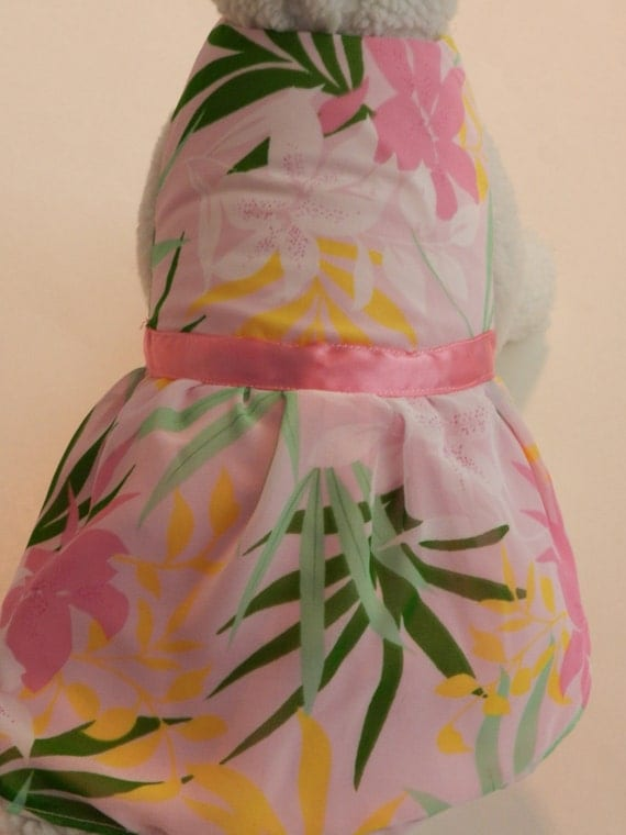 Hawaiian Floral Chiffon Dress. Perfect Item for your Cat, Dog or Ferret. All Items Are Custom Made For Your Pet.