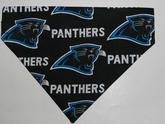 NFL Football CAROLINA PANTHERS Dog/Cat/Ferret-Reversible 2 in 1 Over the Collar Bandana//Custom made just for you and your pet