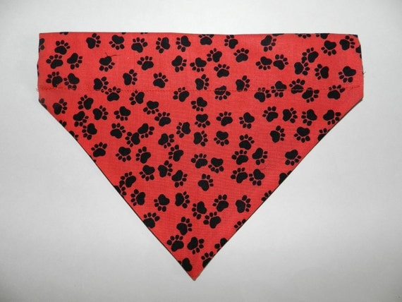 Red Paw Prints Dog, Cat, Ferret-Reversible 2 in 1 Over the Collar Bandana. Custom made just for your pet