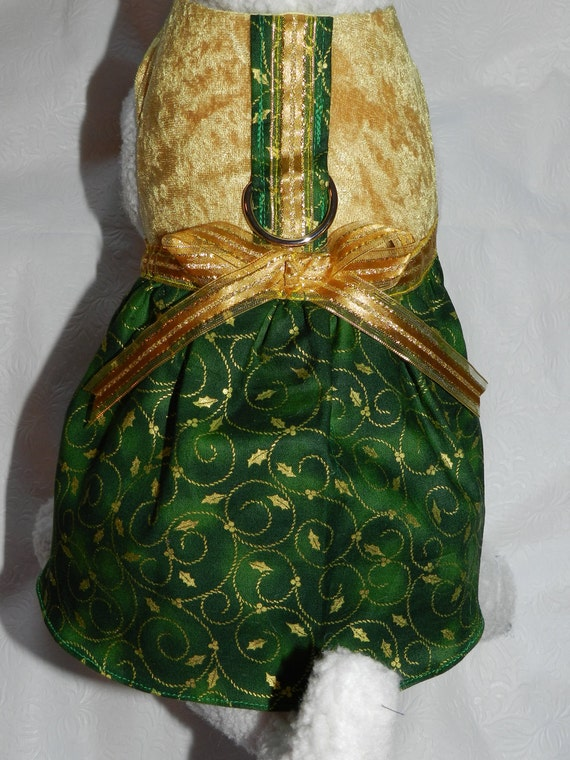 Green & Gold Christmas Holly Harness Dress. Perfect Item for your Cat, Dog or Ferret for the Holidays, Party and other Events.