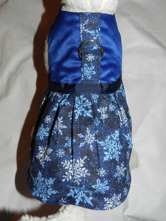 Festive BLUE Holiday Hanukkah Snow Flake Harness Dress. Perfect Item for your Cat, Dog or Ferret. All Items Are Custom Made For Your Pet.