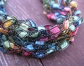 Rainbow Splash Crocheted Necklace