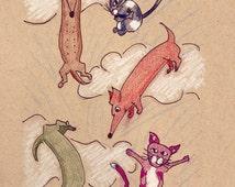 Raining Cats and Dogs, Dachshund Art, Dachshund Print, wiener dog art, wiener dog print, sausage dog art, sausage dog print, katrine