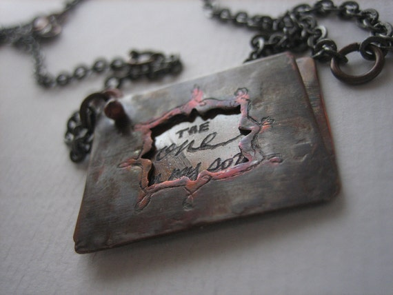 THE ONE - peekaboo engraved copper shakespeare necklace