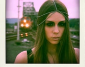SALE Antiqued Metal Two-Tiered Silver Chain Headpiece Midieval/Industrial-esque HAND MADE