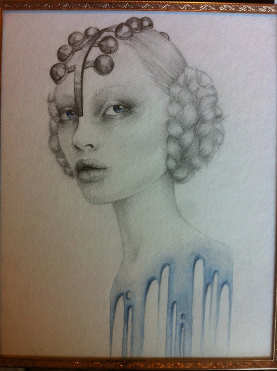 """ORIGINAL """"Lady of the Tide"""" 8x10 Watercolor & Pencil Illustration with Gold Vintage Frame"""