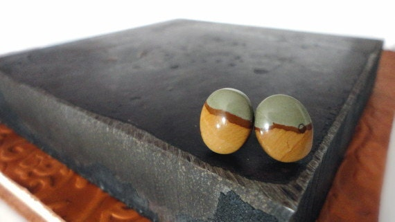 Stud Post Earrings - Semiprecious Picture Jasper Gemstone - Blue Tan Sand Brown Oval - Perfect Gift Idea - Item 109