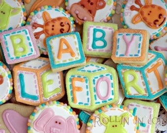 Baby Shower Cookies Alphabet Blocks - 21 Cookies