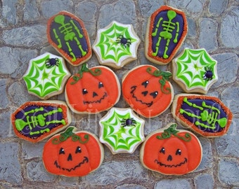 Halloween Cookies, Pumpkins, Skeletons, Spiderwebs, Miniature 3 Dozen