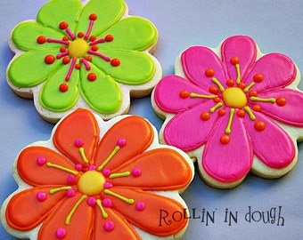 """Flower Cookies - 4"""" Cookies - 1 Dozen"""