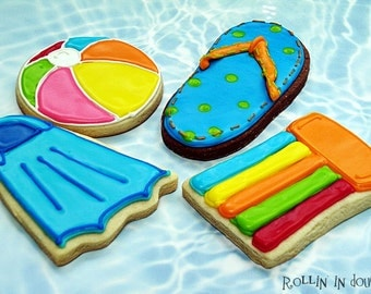 Pool Party Cookie Favors, Swimming Theme Cookies, Beach Theme Cookies  1 Dozen