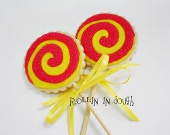 Cookie Pops- Lollipop Swirl Cookie Pops - 1 Dozen