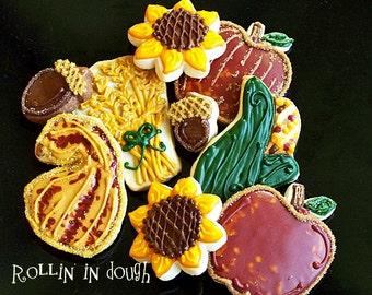 Fall Cookies - Autumn  Cookies - Harvest Cookies Collection - 1 Dozen