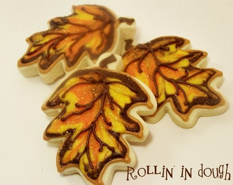 Fall Cookies, Decorated Leaf Cookies - 1 Dozen