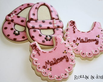 Baby Shower Cookies - Bibs and Baby Shoes - 1 Dozen