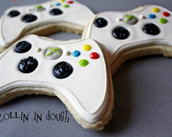 Game Controller Cookies, Video Game Controller Cookies, Video Game Controller Cookie Favors - 1 Dozen